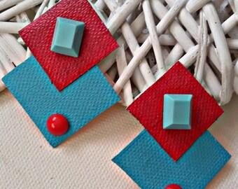 Geometric earrings - canvas earrings - stud earrings -  geometric stud earrings - statement earrings - geometric red stud earrings - gift