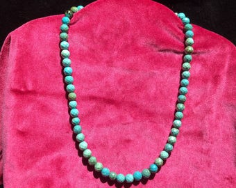 Real turquoise round beaded necklace