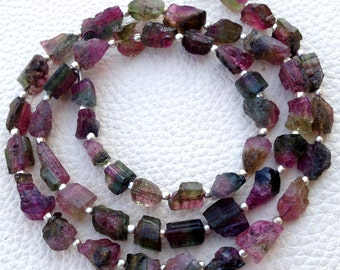 Brand New, Amazing WATERMELON TOURMALINE Hammered Rock Nuggets,7-8mm,Full 8 Inch Strand,Amazing Rare Item