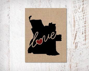 Angola Love - Burlap or Canvas Paper State Silhouette Wall Art Print / Home Decor (Free Shipping)
