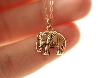 Elephant Necklace, Gold Elephant Necklace, Sterling Silver Elephant Necklace, Elephant Charm Neckalce, Elephant Jewelry, Dainty Yoga Jewelry