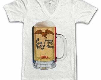 Ladies Iowa State Flag Beer Mug Tee, Home State Tee, State Pride, State Flag, Beer Tee, Beer T-Shirt, Beer Thinkers, Beer Lovers Tee