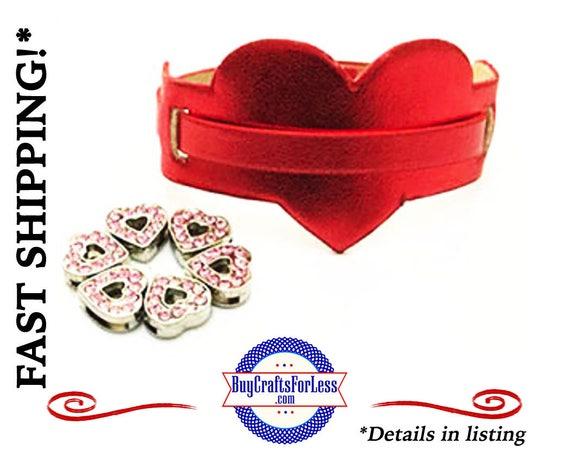 Metallic HEART BRACELET for 8mm Slider Letters and Charms +FREE Shipping & Discounts*