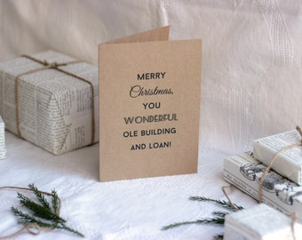 It's a Wonderful Life Christmas Card : Recycled Kraft Paper