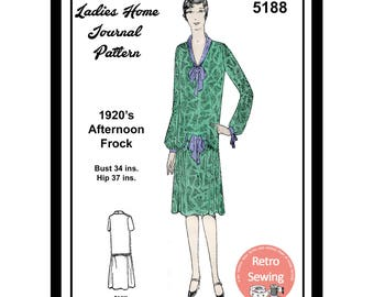 1920s Afternoon Frock Sewing Pattern - Paper Sewing Pattern