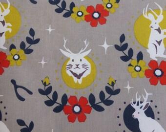 1/2 Yard Organic Cotton Fabric - Tall Tales Jackalope Shroom