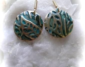 Leaves nature jewelry handmade, tropical accessories, wearable art jewelry , nature jewelry, gift ideas, metal handmade earrings, embossed