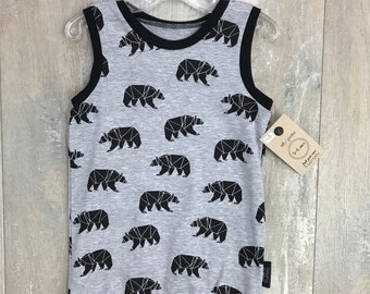 -A-go tank top (tank top) for baby and toddler gray bear
