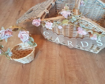 Rustic floral Cards hamper wedding matching confetti and flowergirls baskets available