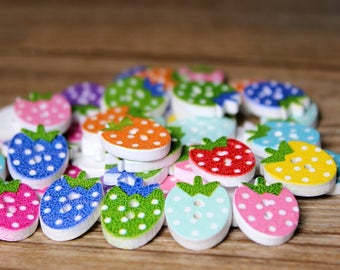 Strawberry Shaped Wood Two Hole Buttons