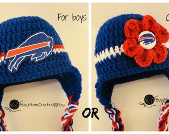 Handmade baby crochet Buffalo Bills inspired HAT ONLY, boy or girl style available, football hat, handmade, newborn to child