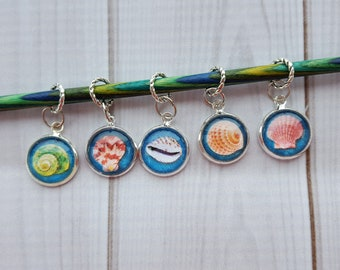 Seashell Knitting Stitch Markers Or Charms (Set of 5)