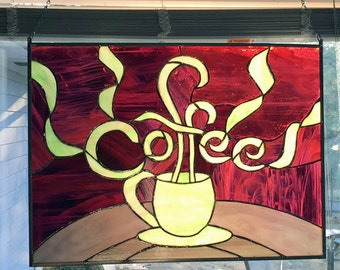 Stained Glass Panel - Coffee