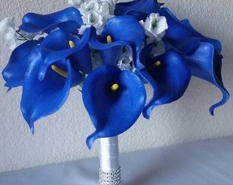 Royal Blue Calla lily Bridal Wedding Bouquet & Boutonniere