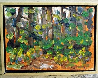 "Mount Baker Forest, Plein Air Landscape Oil Painting, 5x7"""