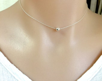 Sterling Silver Bead Choker, Gold Filled Choker, Rose Gold Bead, Layering Necklace, Delicate Necklace, Dot Necklace, Bridesmaid Gift