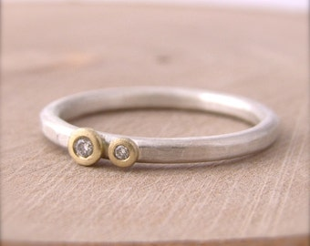 Gold Flush Set Diamond Silver Stackable Ring Dot Hammered Band 18 Karat Gold Luxe Artisian Jewelry Metalsmith