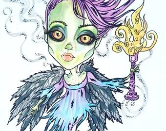 Debora Horror Fantasy Lowbrow Art Print by Leslie Mehl 8.5 X 11