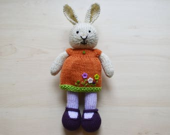 Hand Knit Easter Bunny Cute Knitted Toy Easter Bunny Girl Toy Doll For Girls Rabbit Present Cute Stuffed Animal Collectible Toy
