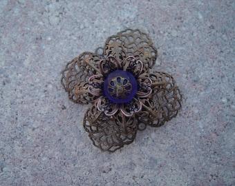 Brass Filigree Flower Brooch with Vintage Cobalt Blue Czech Bead