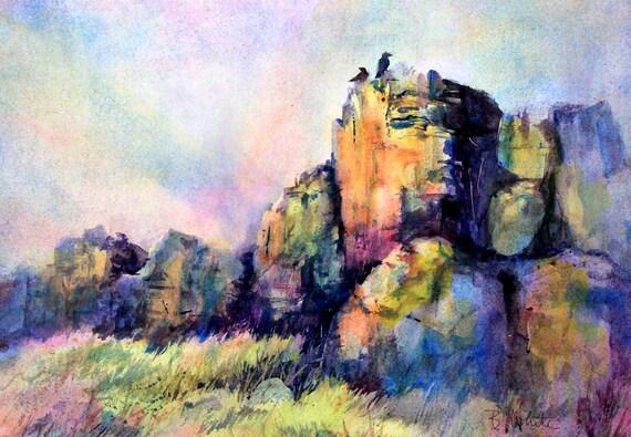 Ravens on Rocks original watercolor by Bonnie White