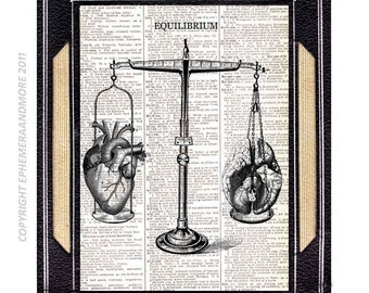 EQUILIBRIUM HEART BRAIN balance art print on upcycled vintage dictionary text book page libra medical science human anatomy wall decor 8x10