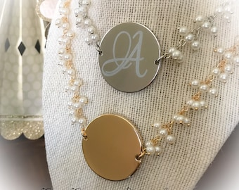 Personalized statement necklace,  Statement pendant, Personalized gold and pearl necklace, Personalized silver and pearl necklace