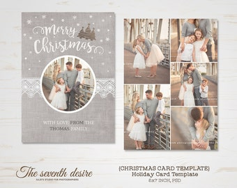 Christmas Card Template - Holiday Card Template - Photo Card Template - Instant Download