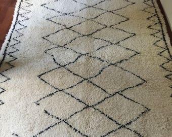 Carpet Beniouarain pure Virgin wool and white craft Berber 149cmx223cm