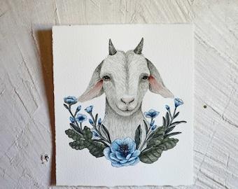 Goat Portrait - Original Watercolor