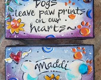 Painted brick, garden brick, pet sympathy, pet memorial stone