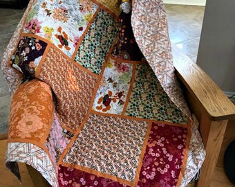 Big Block Patchwork Lap Quilt/ Colorful Designer Prints/ Large Size / Long Arm Quilted/ Sofa Throw