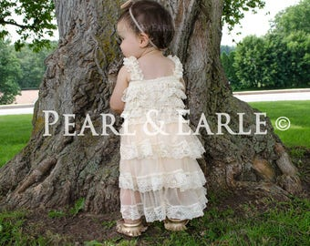 Lace flower girl dress, rustic lace dress, baby lace dress, flower girl dress, country flower girl dress, lace dress, vintage flower girl