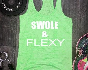 swole and flexy workout tank, funny workout tank, workout burnout tank, swole and flexy, swole tank, gym tank, beach tank, gym tank, fit