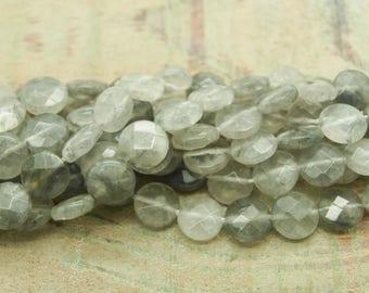 Set of 4 cloud quartz faceted beads (01)
