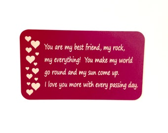 "Bride to Groom Gift Wallet Insert Card ""You are my best friend, my rock, my everything!...""/ Anniversary Gift / Custom Engraved Wallet Card"