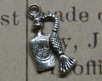 2 charms 20x10mm silver perfume bottle