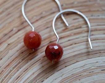 Red Orange Coral Sterling Silver Earrings
