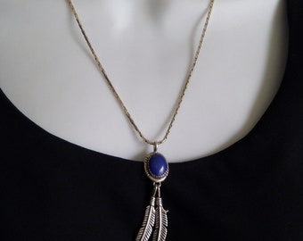 Vintage NATIVE American Indian Jewelry Navajo Sterling Necklace LAPIS Lazuli Gemstone Feather Leaf Charms Long Chain, Mothers Gift for Her