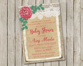 Paper Flower, Burlap and Lace Baby Shower Invitation, Baby Girl Invitation, Pink and Green