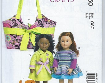 """McCalls 7450 - 18"""" Doll Carrier, Clothes & Puppy"""