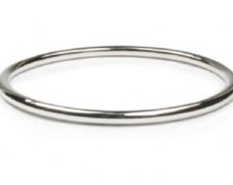 Sterling Silver Round Bangle bracelet 3mm Solid Plain Stacker Slave Golf