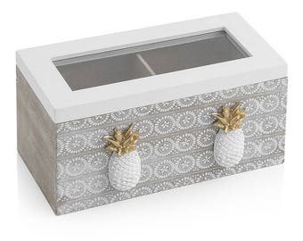 Box of Tea pineapple with 2 Compartments 18X9X9 cm