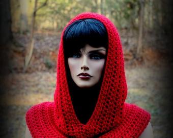 Red Hood Scarf, Fishermans Hood, Women Scarf, Hooded Cowl, Crimson Hood, Medieval Hood, Men Scarf, Crochet Hood, Valentines Scarf, Knit Scar