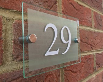Modern House Numbers glass acrylic house sign door number plaque & Modern House Sign door number street glass effect acrylic