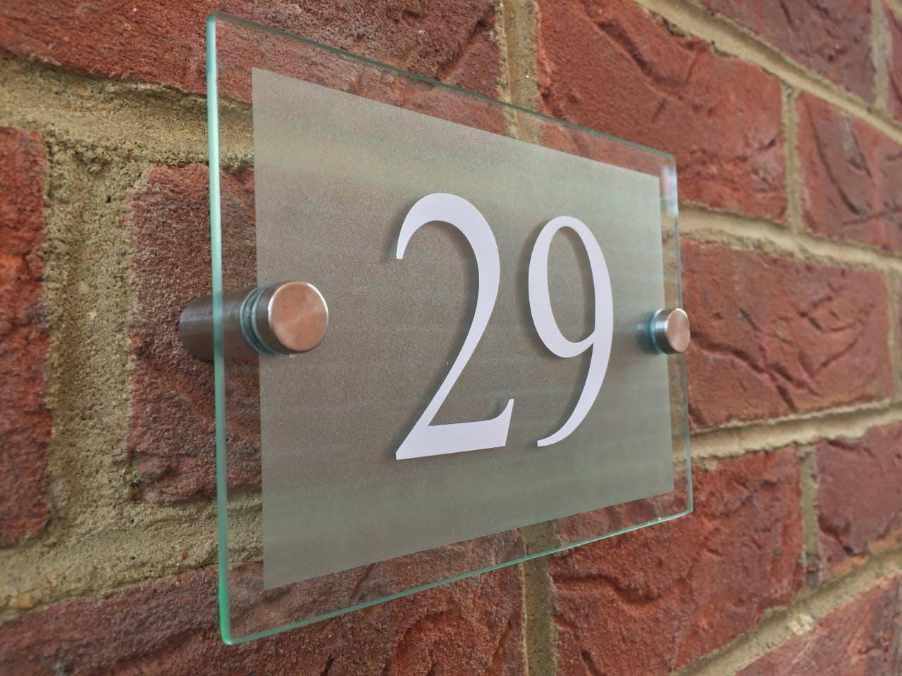Moderna casa números vidrio acrílico casa signo puerta número