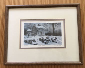 Vintage 80's signed, dated, limited edition 609/950 lithograph print, Booth Island house. snow, winter scene, framed and matted