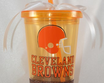 Cleveland Browns Glitter Dipped Double Wall Tumbler