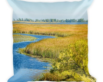 Nature Photo Throw Pillow, Earth Landscape Decor, Marsh Lake and River Life, Summer Wilderness Lover, Outdoor Enthusiast Gift for Dad, Mom