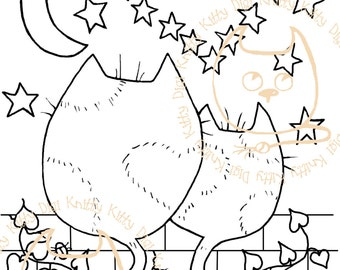 Digi Stamp Instant Download. Purrfect End - Knitty Kitty Digis No. 24
